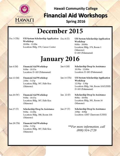 Hawai'i Community College<br />Campus Activities & Events Calendar