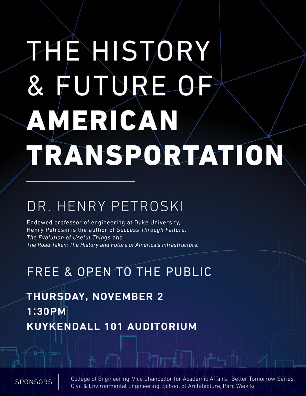 Renowned engineering professor at Duke University and award-winning author,  Henry Petroski, discusses the history and future of transportation, ...