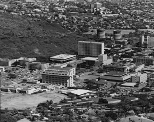 Aerial photo of Mānoa campus, 1971