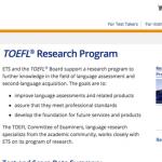 screenshot image of TOEFL Research Program website