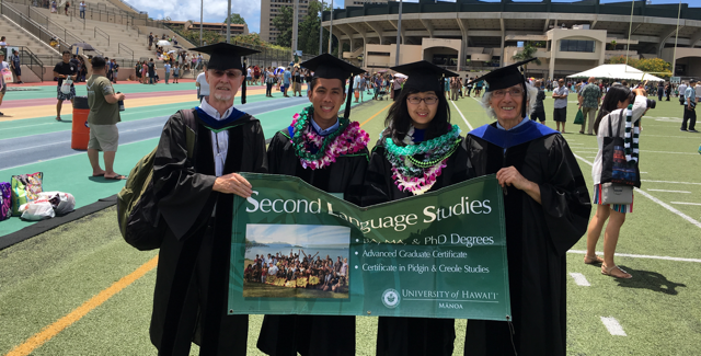 photo of Spring 2018 SLS PhD Graduates with Dr. Crookes and Dr. Day