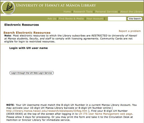 Manoa library login page