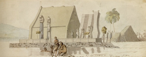 drawing of a Hawaiian structure with people in the foreground