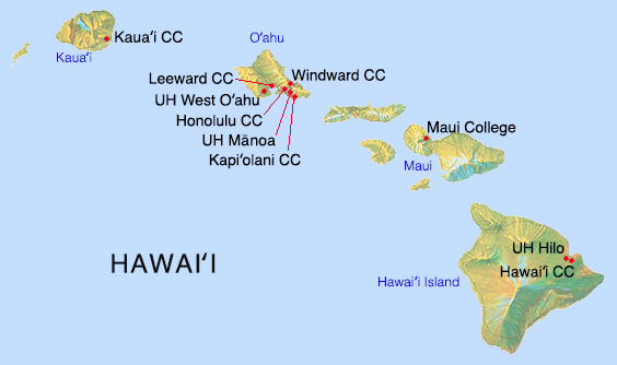 Map of Hawaii with University of Hawaii's 10 campuses on the four major islands. Hawaii island: Hawaii Community College and University of Hawaii Hilo; Oahu: Honolulu Community College, Kapiolani Community College, Leeward Community College, University of Hawaii Manoa, University of Hawaii West Oahu, and Windward Community ; Maui: Maui College, College; Kauai: Kauai Community College