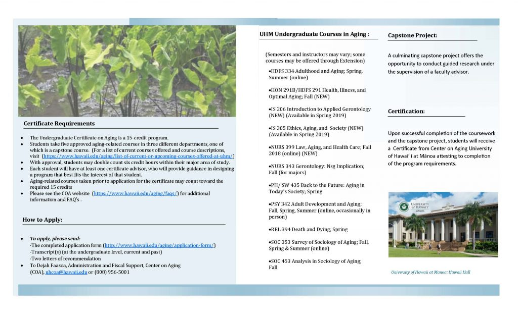 UG Certificate on Aging Brochure - Center on Aging