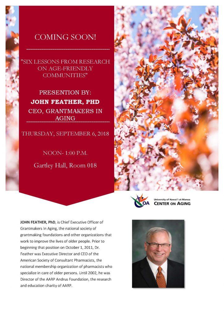 John Feather, Ph.D Presentation Flyer