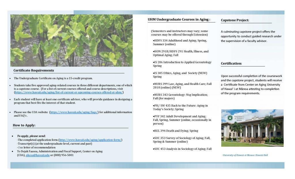 Page 2 of the UG COA Brochure