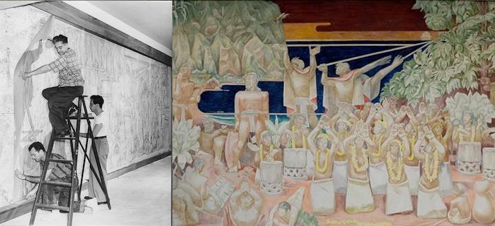 Creator: Jean Charlot (1898-1979); Date: 1949 October 17-November 25; Location: First floor, Administration Building (Bachman Hall), University of Hawaii, Honolulu, Hawaii; Material: Fresco; Measurements: 10 x 29 feet