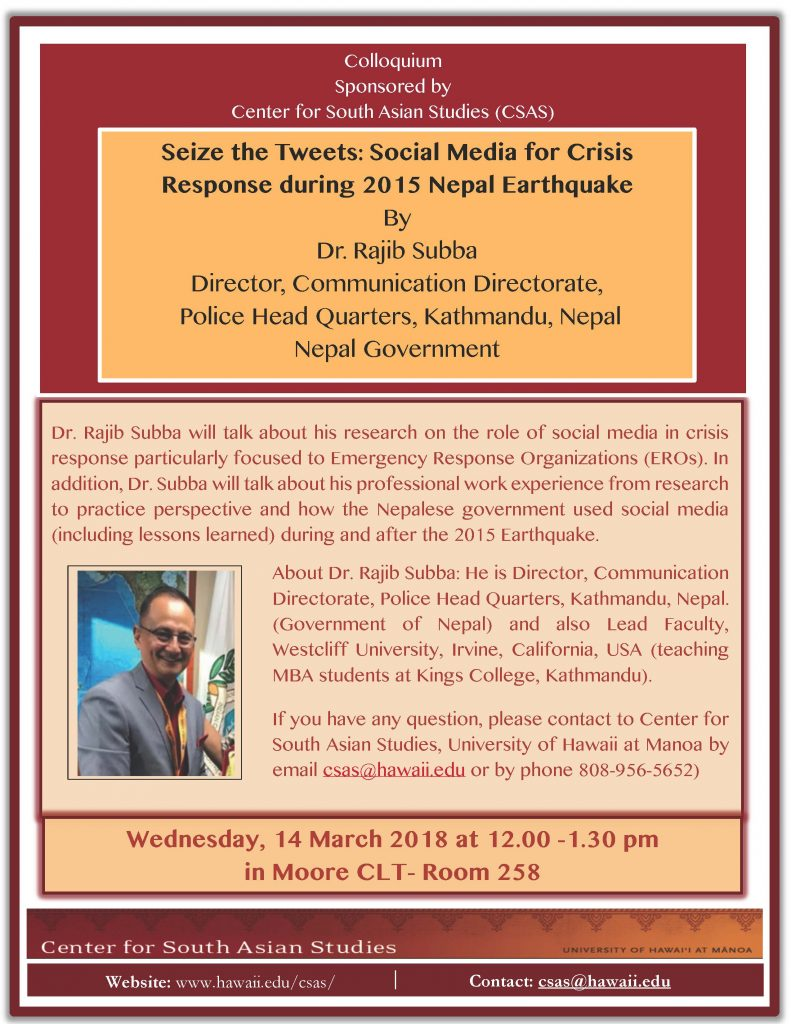 flyer for Dr. Rajib Subba talk on social media and Nepal