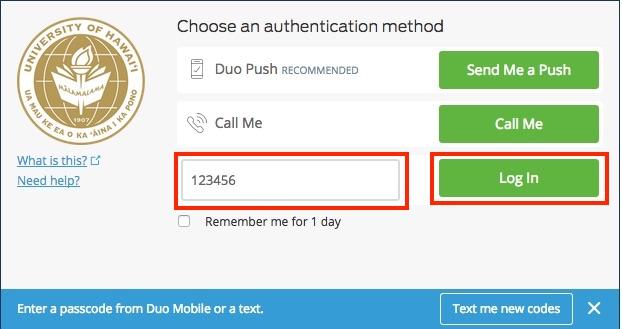 enter code and click login