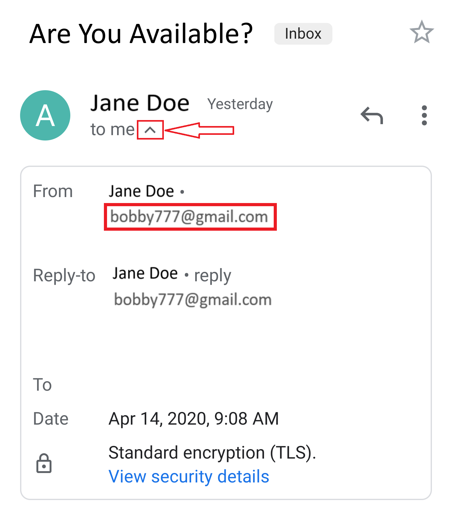 Checking email sender on Android