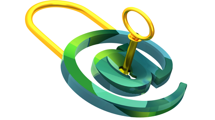 green at symbol representing a lock with gold latch and key