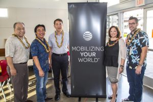Left to right. Garret Yoshimi, VP IT & CIO, Senator Wakai, Mark Wong, City & County, Carol Tagayun, AT&T Dir of Ext Affairs, Mark Quezada, CTO Hobnob.