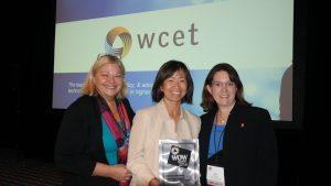 Dr. Ellen Wagner, Dr. Hae Okimoto, Dr. Kara Monroe pose with WOW Award