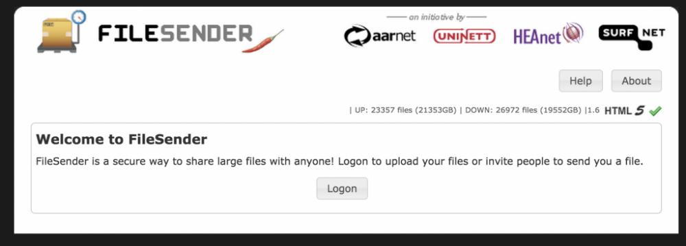 FileSender Logon Window