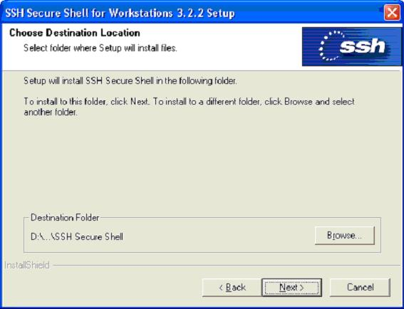 Select location to install SSH