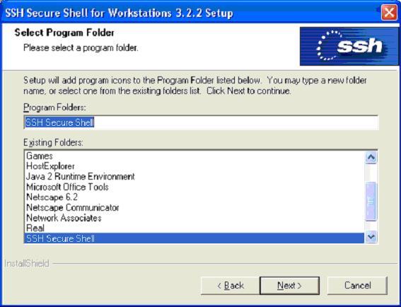 Choose the name of the Program folder for the install