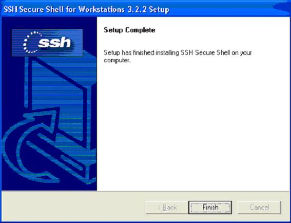 SSH installation finished