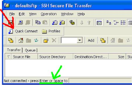 For SFTP, press Quick Connect, or press Enter or Space to connect to the default host