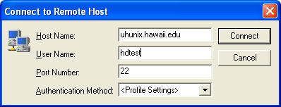 Type in host name and username