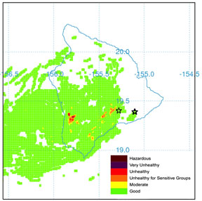Big Island Vog Map Vog website tests forecast model | Malamalama, The Magazine of the