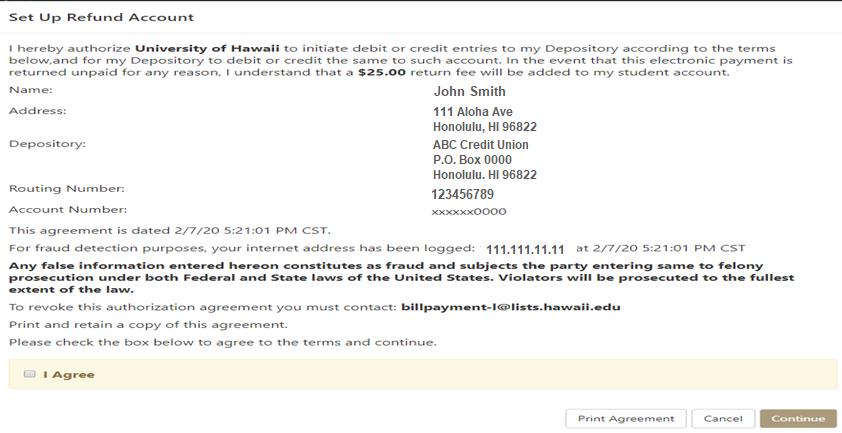 Refund Account Agreement