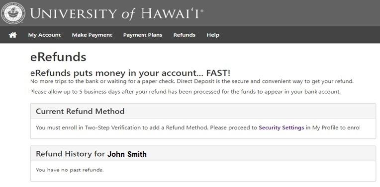 eRefunds Home Screen Screenshot
