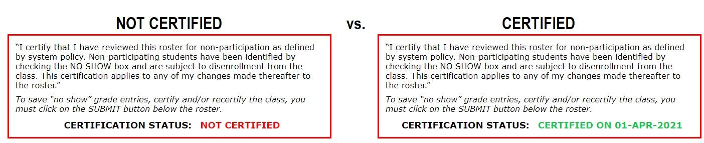 Certified vs Not Certified Screenshot