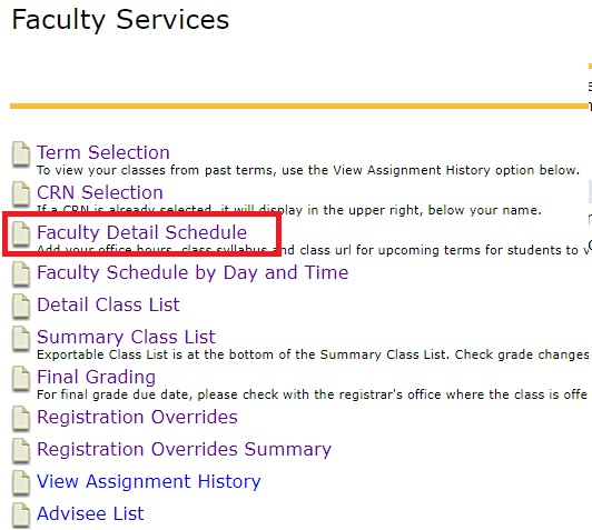 Faculty Detail Schedule