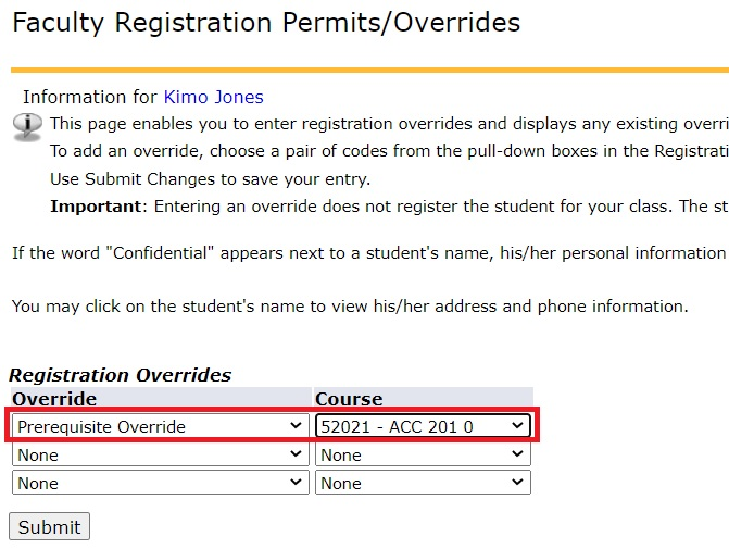 Override Entry