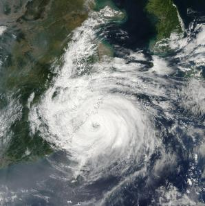 Fig.1. Cyclone Sinlaku make landfall in east China in 2002. (Image: MODIS/NASA)
