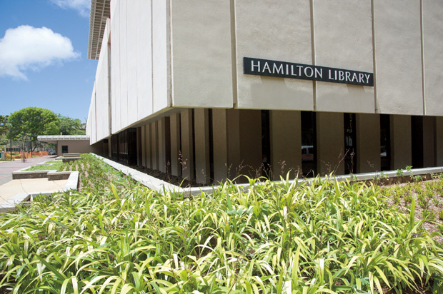 Outside of Hamilton Library building