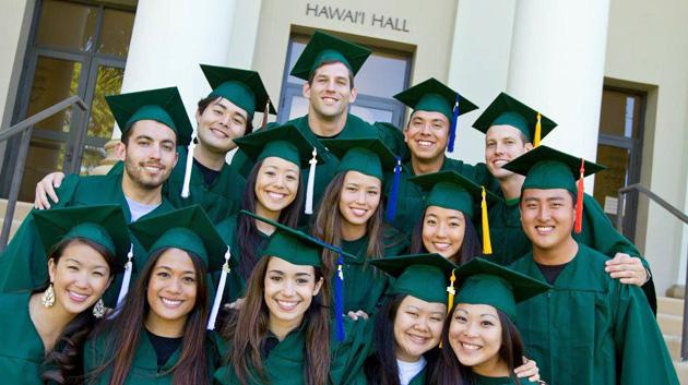 UH Manoa Graduates In Caps And Gowns