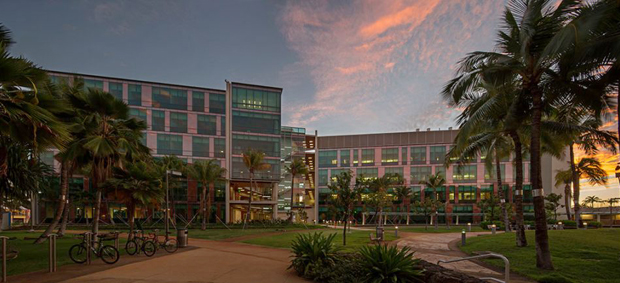Cancer Center Building Exterior At Sunset University Of Hawaii