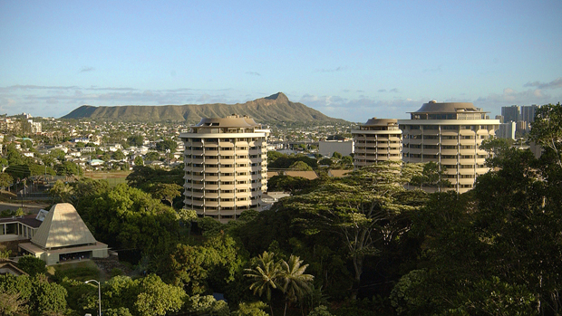 UH Manoa Dormitory Buildings With Diamond Head In The Background