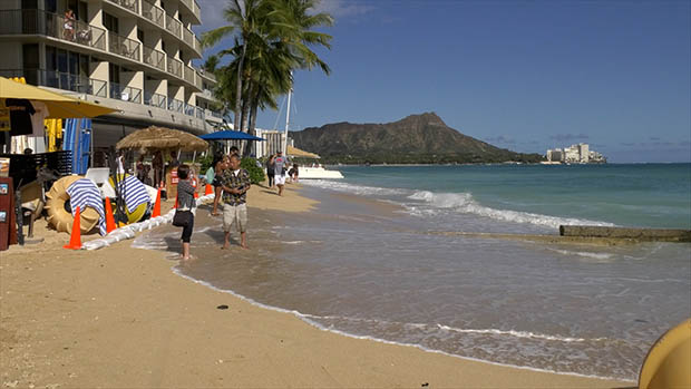 High water in Waikiki with Diamond Head in the background