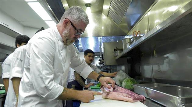 Chef Atala Cutting Meat