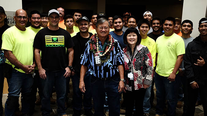 Gene Harada with his students