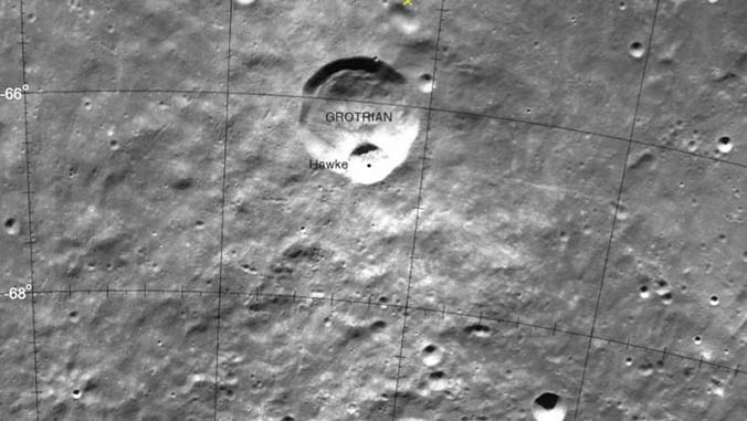 Black and white image of Hawke crater on the moon in a space labelled GROTRIAN