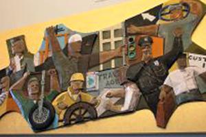 Enomoto ceramic mural depicting Hawaii labor scene