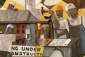 Enomoto ceramic mural depicting Hawaii labor scene, people doing contruction
