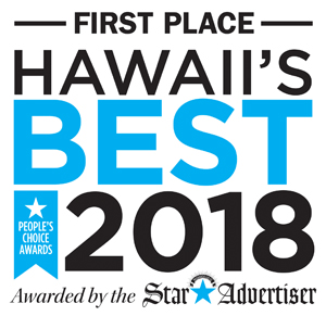 "image with words ""First Place Hawaii's Best 2018, awarded by the Star Advertiser"""
