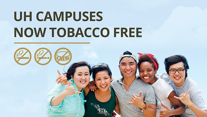 Smiling students, no smoking, vaping or chewing icons, text: U H campuses now tobacco free