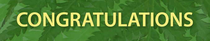 The word 'congratulations' in front of green leaves