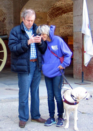 John and Susan Glass testing audio-described brochure