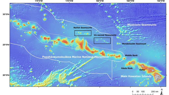 Map of Northwestern Hawaiian Islands with Papahanaumokuakea circled