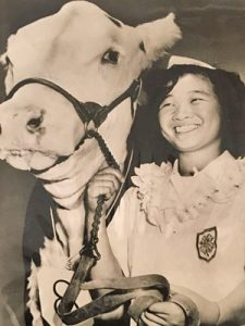 girl and a cow