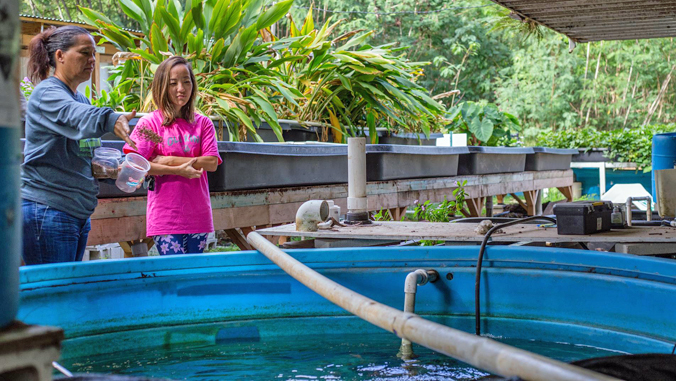 two women standing by aquaponics set-up outdoors