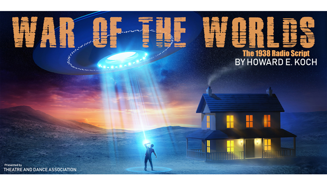 war of the worlds graphic art with guy staring at alien spaceship