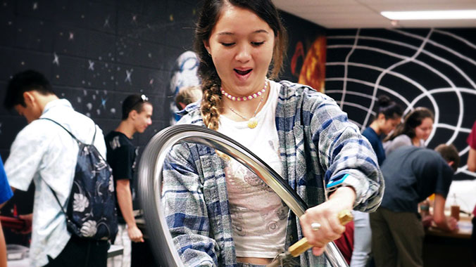 wheel demonstration and female student